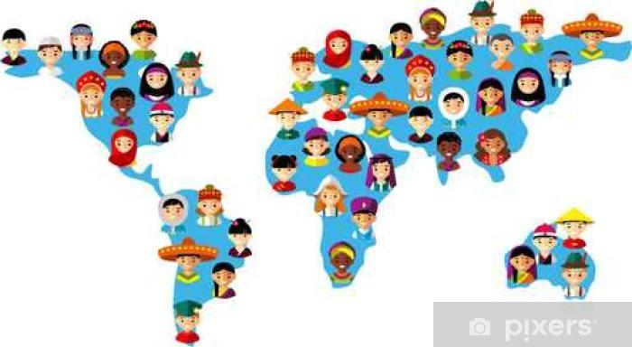 Fototapeta winylowa Ilustracji wektorowych dzieci wielokulturowym krajowe na mapie Ziemi - Zasoby graficzne