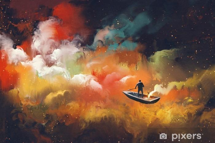 Afwasbaar Fotobehang Man op een boot in de ruimte met kleurrijke wolk, illustratie - Hobby's en Vrije tijd