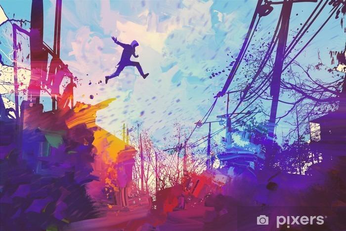 Afwasbaar Fotobehang Man springen op het dak in de stad met abstracte grunge, illustratie painting - Hobby's en Vrije tijd