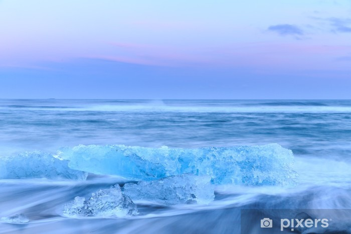 icebergs at crystal black beach in Iceland Vinyl Wall Mural - Landscapes