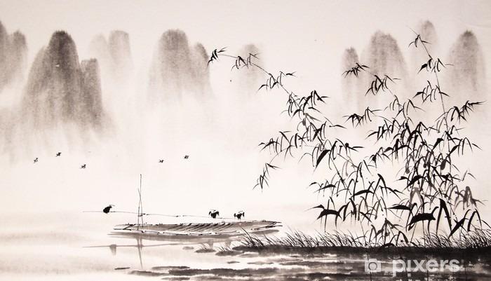 Fototapeta winylowa Chiński krajobraz malarstwo tuszem - Krajobrazy