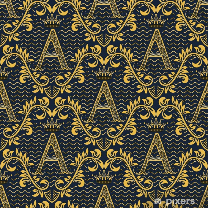 Damask Seamless Pattern Repeating Background Gold Blue Floral Ornament With A Letter And Crown In