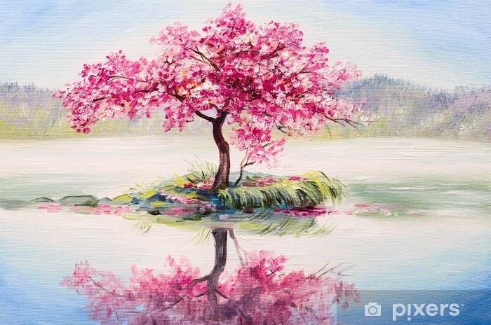Fotomural Autoadhesivo Paisaje de pintura al óleo, cerezo oriental, sakura en el lago - Hobbies y entretenimiento