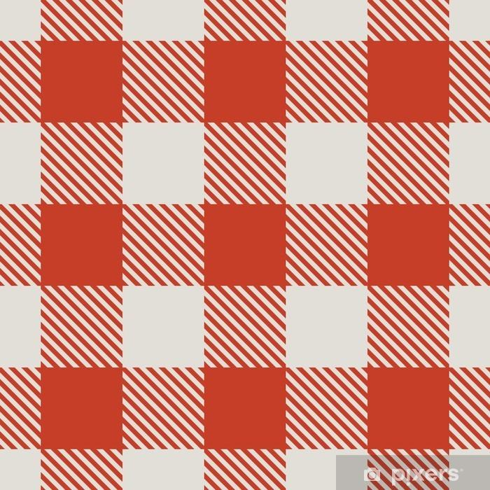 Fotomural Estándar Seamless pattern rojo y blanco mantel vector. - Recursos gráficos
