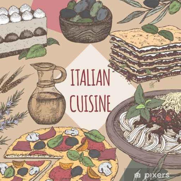 Papier peint vinyle Couleur italienne modèle de cuisine. - Nourriture