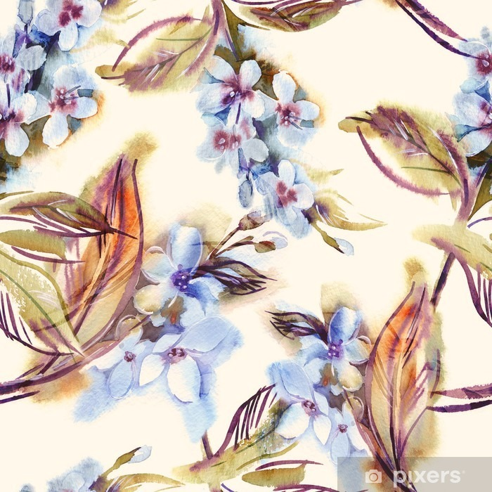 Papier peint vinyle Aquarelle Motif continu avec Blooming Brindilles - Plantes et fleurs