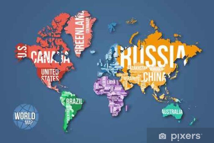 Fotomural Estándar Vector mapa del mundo detallada con las fronteras y los nombres de países. La educación, los negocios y el concepto de viaje infografía. - Viajes