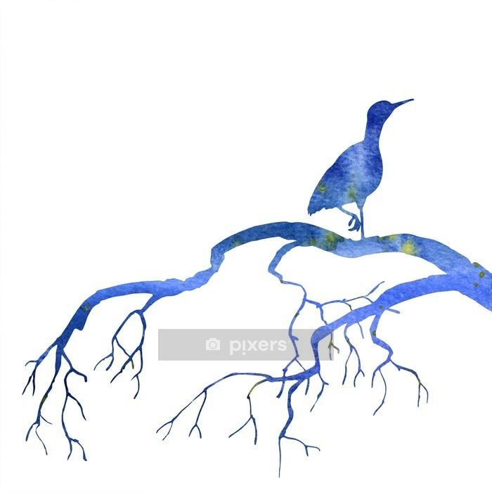 bird at tree silhouettes Wall Decal - Animals
