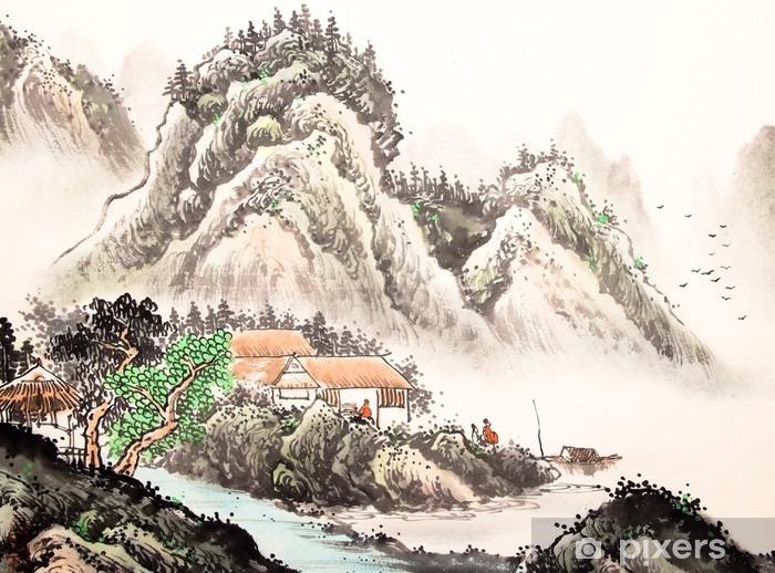 Papier Peint Autocollant Paysage chinois aquarelle painting__ - Paysages