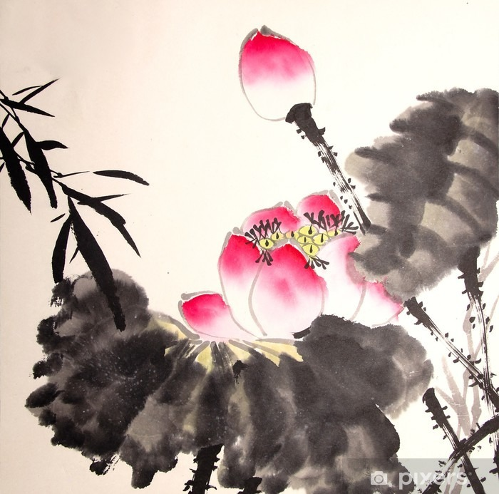ink lotus painting hand drawn Poster - Plants and Flowers
