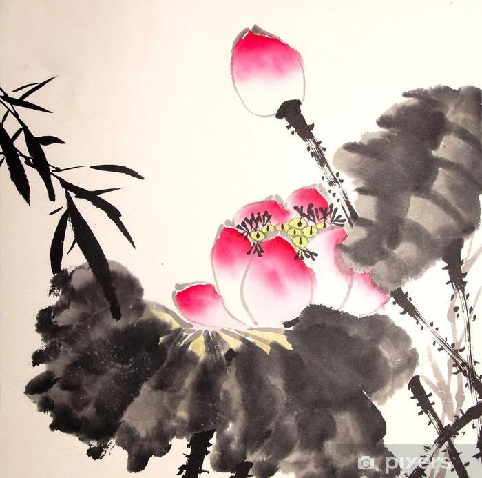 Poster Inkt lotus schilderij hand getekende - Bloemen en Planten