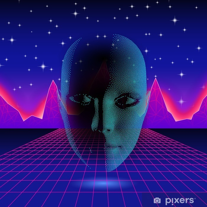 Retro wave shiny head silhouette over neon landscape Poster - Graphic Resources