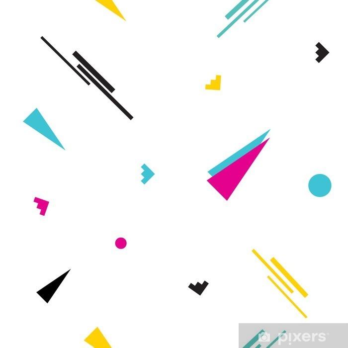 Pixerstick Sticker Naadloze geometrische Memphis patroon in retro jaren '80 stijl. Pop art driehoeken, lijnen, cirkels op een witte achtergrond .__ - Levensstijl