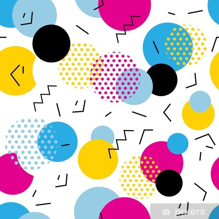 Fototapeta winylowa Bez szwu geometryczny wzór w stylu retro lat 80. pop-artu, koła, linie, zygzakowaty wzór na białym tle. - Zasoby graficzne