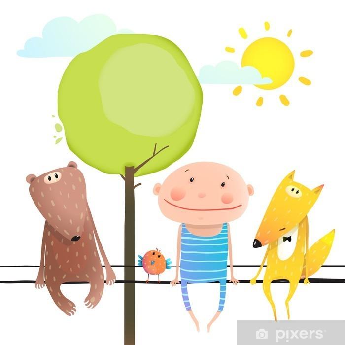 Vinilo Pixerstick Animales amistosos y lindo chico amigos divertidos dibujos animados que se sientan alta - Animales