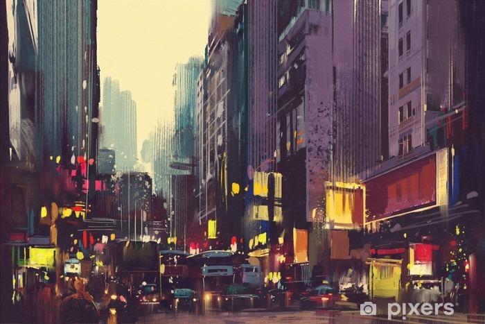 Fototapeta winylowa Miasto ruchu i kolorowe światła w Hong Kongu, ilustracja malarstwo - Krajobrazy