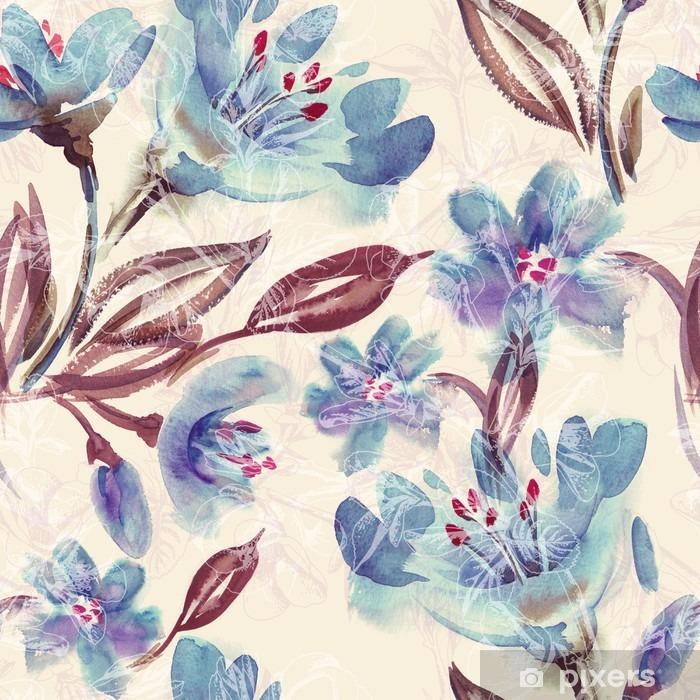 Papier peint vinyle Motif Aquarelle Bleu Fleurs Seamless - Ressources graphiques