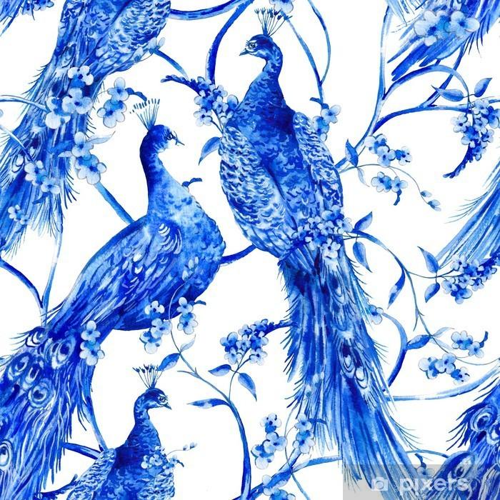 Naklejka Pixerstick Niebieski kwiat Akwarele rocznika szwu z pawie - Zwierzęta