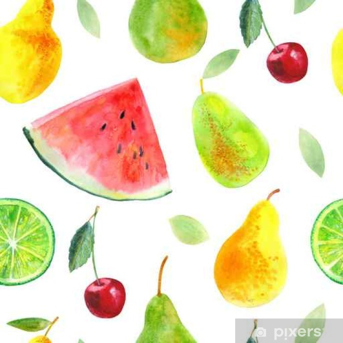 Vinyl Fotobehang Naadloos patroon met fruit.Watermelon kalk peren en cherry.Food picture.Watercolor hand getrokken illustratie. - Eten