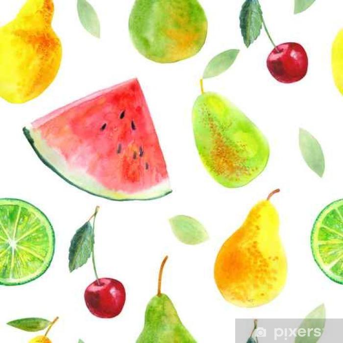 Fototapeta zmywalna Jednolite wzór z gruszkami i cytryna fruit.Watermelon cherry.Food picture.Watercolor Ręcznie rysowane ilustracji. - Jedzenie