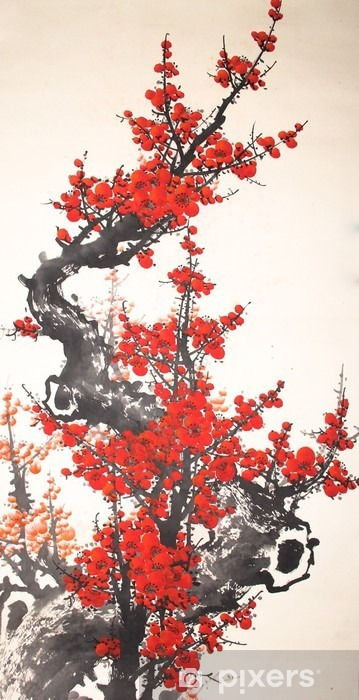Chinese watercolor cherry painting Pixerstick Sticker - Plants and Flowers