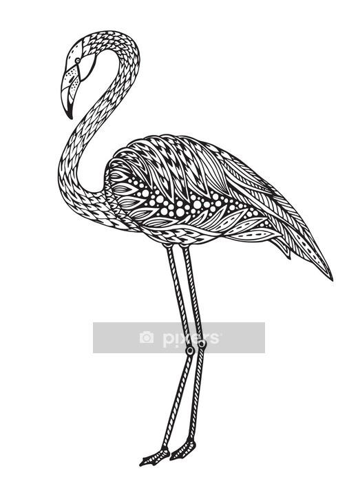 Naklejka na ścianę Ręcznie rysowane Flamingo ptaka w ozdobnym fantazyjny doodle stylu. - Zwierzęta