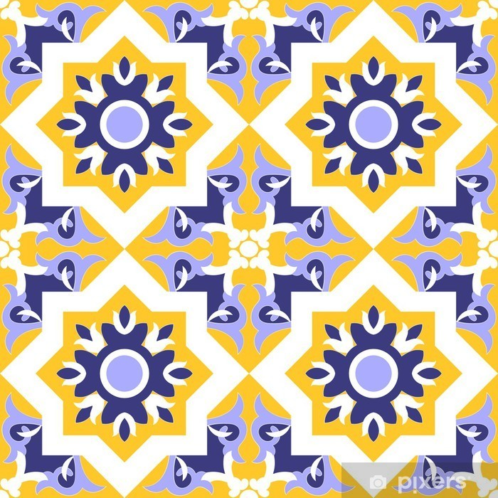 Vinilo Pixerstick Ornamental inconsútil azul del modelo del vector, de color amarillo y blanco. patrón de mosaico - azulejo, azulejos portugués, español, marroquí, talavera, diseño azulejos turco o árabe con flores motivos. - Recursos gráficos