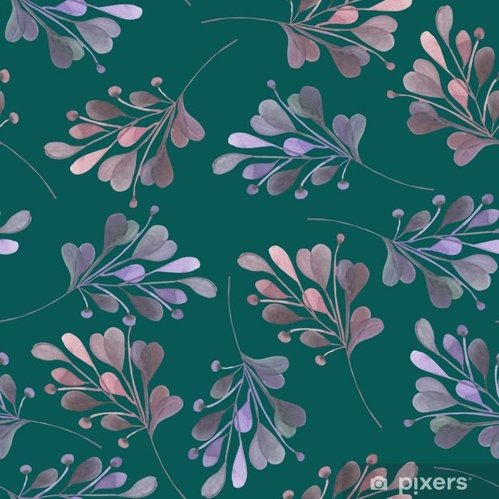 Pixerstick Sticker Naadloos patroon met de aquarel roze en paarse bladeren en takken op een donkere groene achtergrond, bruiloft decoratie, met de hand getekend in een pastel - Grafische Bronnen