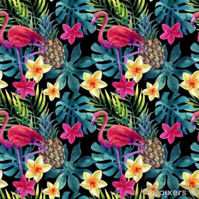 Poster Tropical Aquarell Ananas, Blumen und Blätter mit Schatten - Pflanzen und Blumen