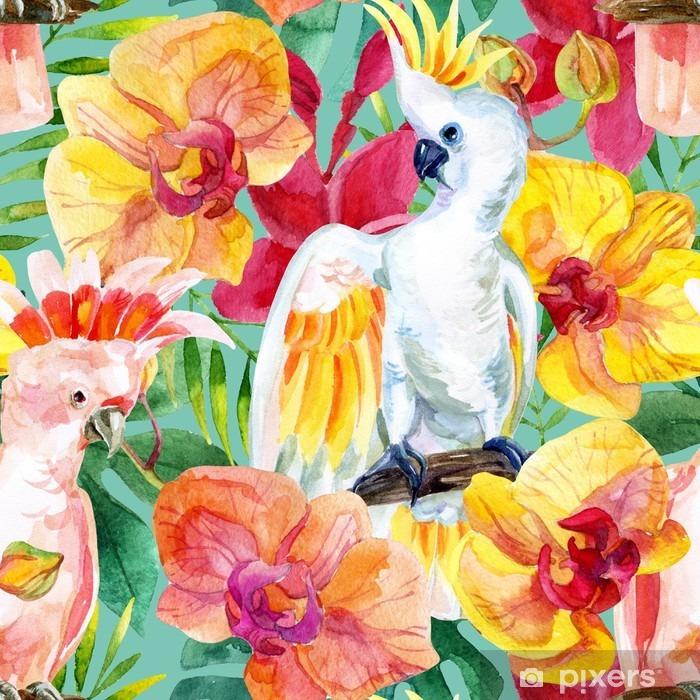 Zelfklevend Fotobehang Aquarel Australische Kaketoe naadloze patroon - Bloemen en Planten