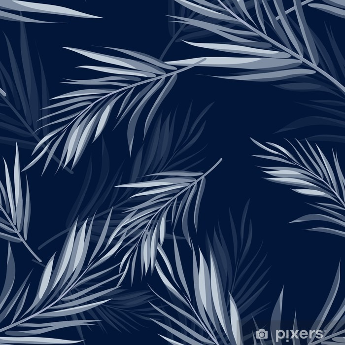 Tropical seamless monochrome blue indigo camouflage background with leaves and flowers Pixerstick Sticker - Plants and Flowers