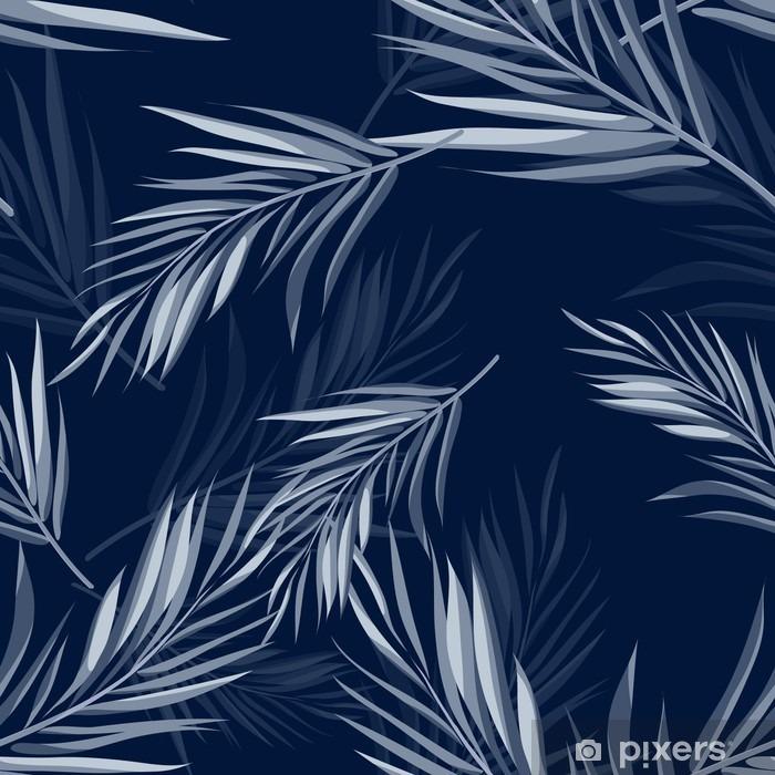 Pixerstick Sticker Tropische naadloze zwart-wit blauwe indigo camouflage achtergrond met bladeren en bloemen - Bloemen en Planten