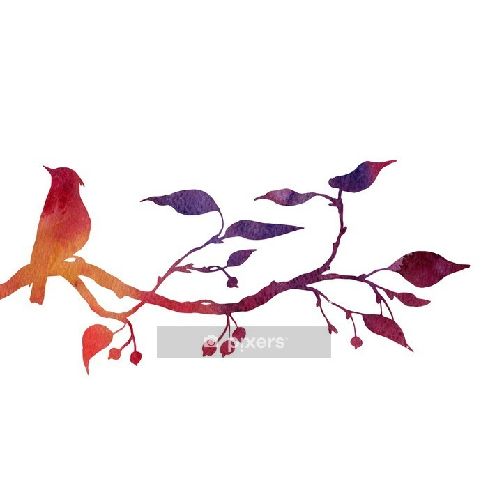 bird at tree silhouettes Wall Decal - iStaging