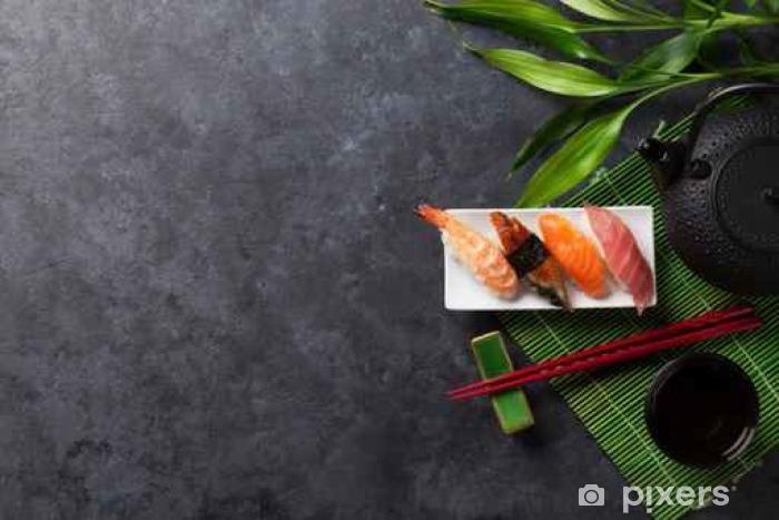Naklejka Pixerstick Zestaw sushi i zielonej herbaty - Jedzenie