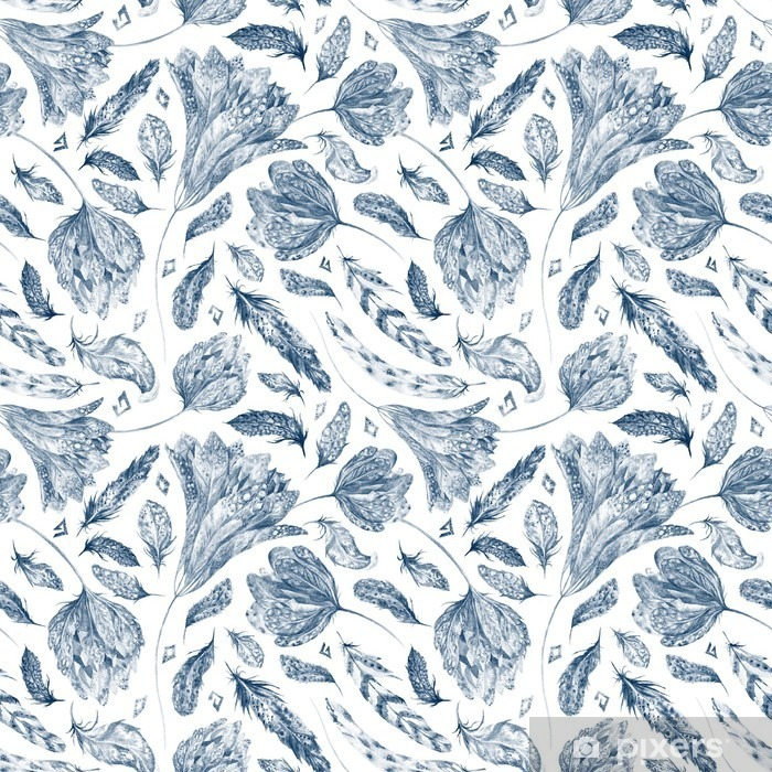 Afwasbaar Fotobehang Boho Chic Indigo Pattern - Bloemen en Planten