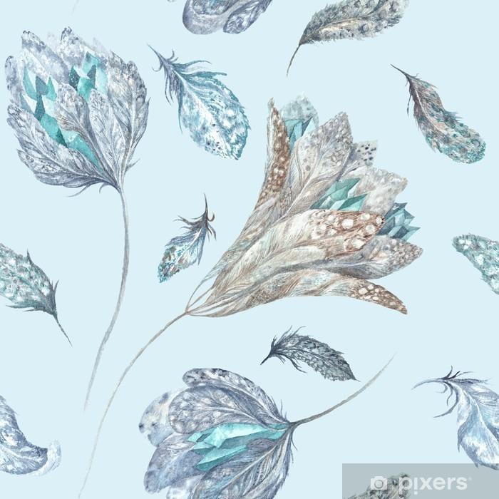 Naklejka Pixerstick Feather Kwiaty akwarela Wzór - Zwierzęta