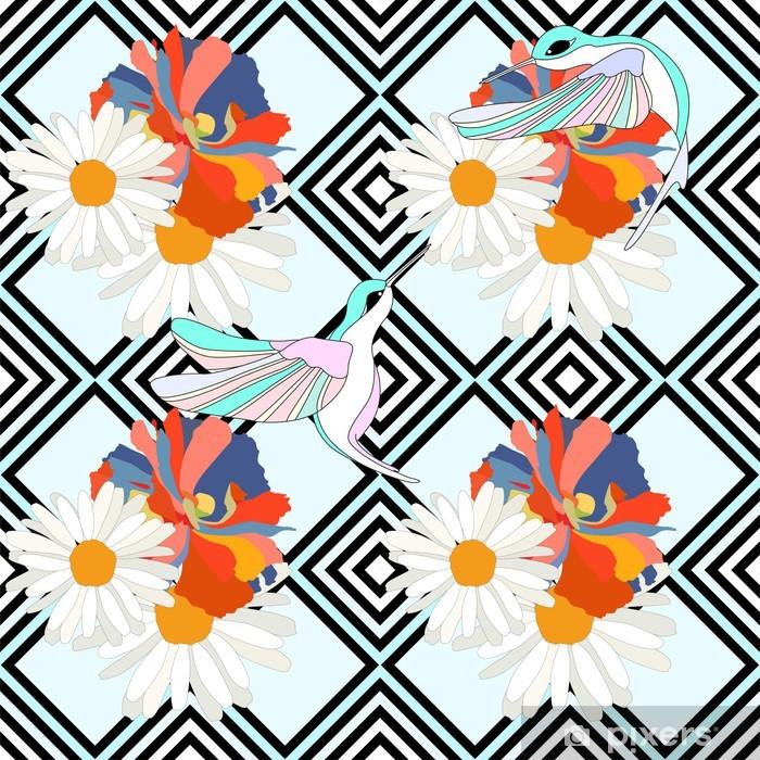 Vinyl Fotobehang Abstracte illustratie van vogels (kolibries) op bloemen, gestreepte achtergrond, fashion design, naadloos patroon - Texturen
