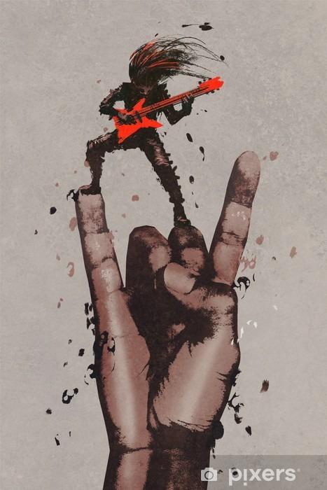 Fototapeta winylowa Wielka ręka w rock n roll podpisać z gitarzystą, ilustracja malarstwo - Hobby i rozrywka