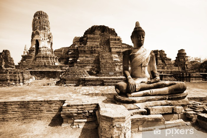 Pixerstick Sticker Monumenten van buddah, ruïnes van Ayutthaya, de oude hoofdstad van Thailand - Thema's