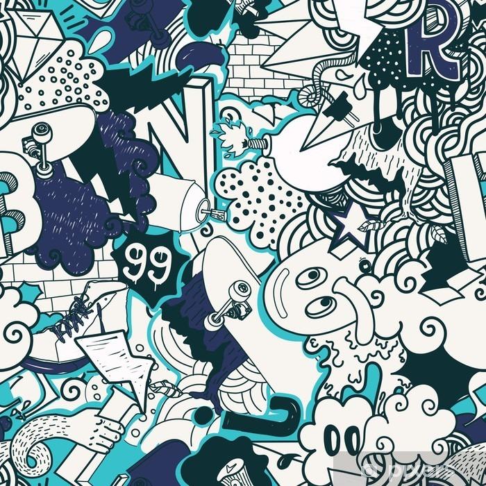 Fotomural Estándar Patrón de colores sin fisuras Graffiti - Hobbies y entretenimiento
