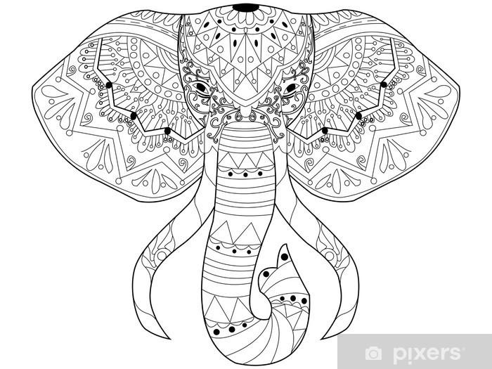 Coloriage Elephant Pour Adulte.Sticker Vecteur De Coloriage Elephant Pour Les Adultes Pixers