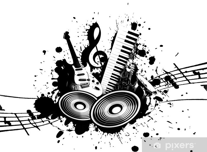 Sticker Pixerstick Music grunge - Jazz