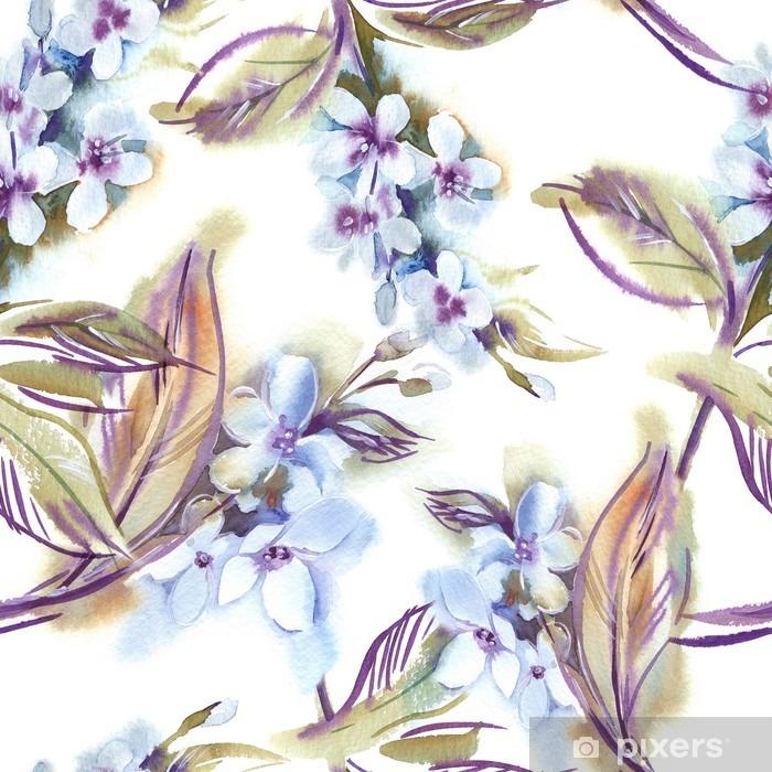 Afwasbaar Fotobehang Watercolor Naadloos Patroon met Blooming Takjes - Bloemen en Planten