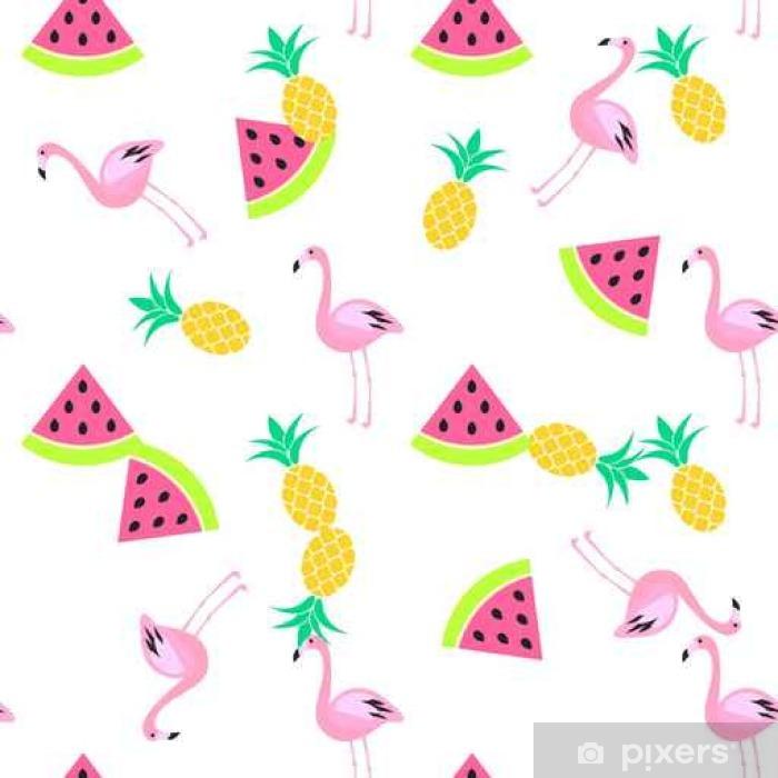 Vinyl-Fototapete Tropic Sommer nahtlose weißem Muster mit Wassermelone, Flamingo und Ananas. Rosa und gelbe Spaßmuster. - Grafische Elemente