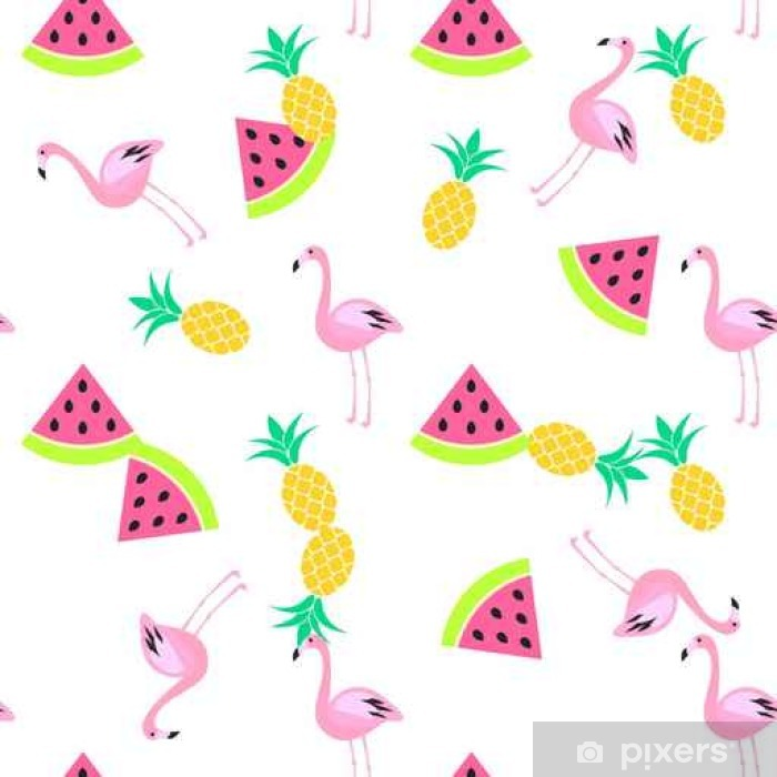 Tropic summer seamless white pattern with watermelon, flamingo and pineapples. Pink and yellow fun pattern. Vinyl Wall Mural - Graphic Resources