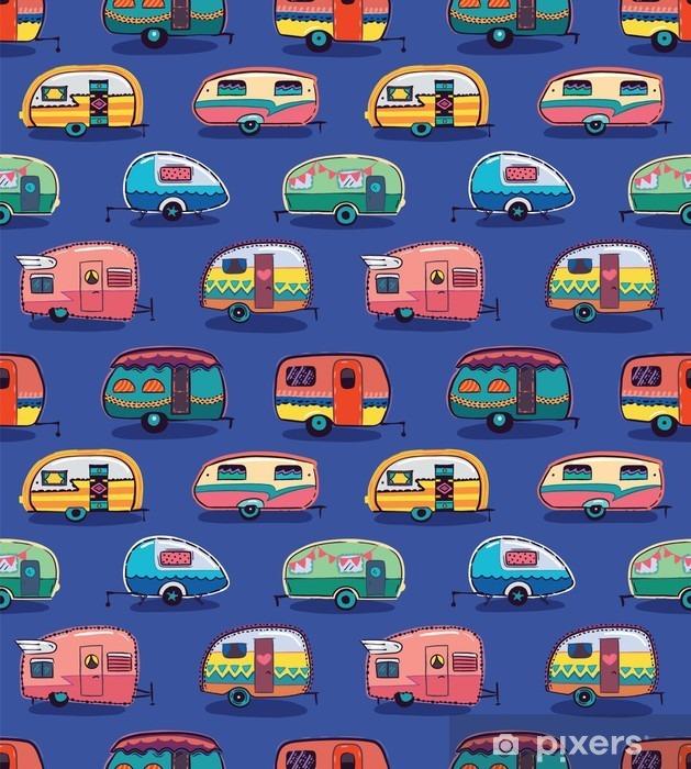 Mid fifties cartoonish campers pattern Vinyl Wall Mural - Transport