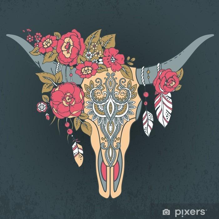 Zelfklevend Fotobehang Decoratieve Indische stier schedel met etnische ornament - Dieren