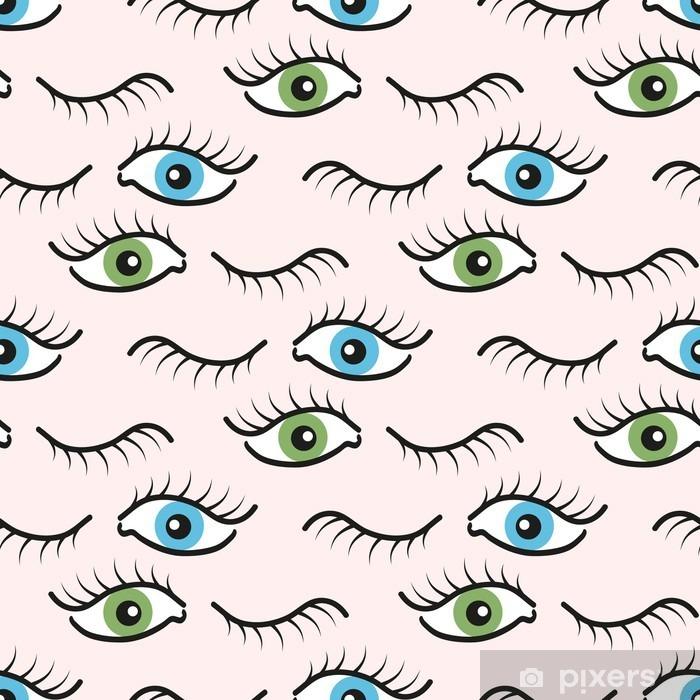 Zelfklevend Fotobehang Abstract naadloos patroon met open en gesloten ogen. Wimpers achtergrond afbeelding. - Grafische Bronnen
