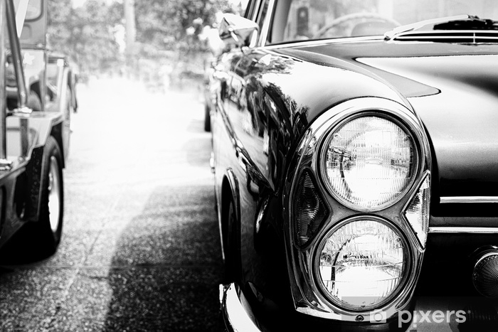 Black and white photo of classic car- vintage film grain filter effect  styles Wall Mural - Vinyl