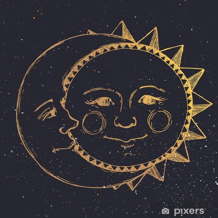 Fototapeta winylowa Ręcznie rysowane słońce z księżycem - Zasoby graficzne